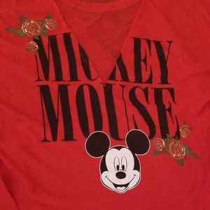 NWOT Disney Mickey Mouse Mesh V-Neck Top